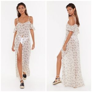 Nasty Gal Floral Button Front Coverup Maxi Dress
